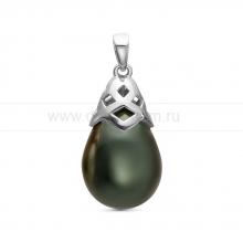 "Кулон из серебра с черной жемчужиной ""Майорика"" 12,5-15,5 мм. Артикул 11286"