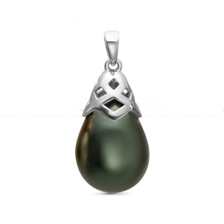 Кулон из серебра с черной жемчужиной
