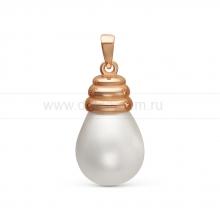 "Кулон из серебра с белой жемчужиной ""Майорика"" 12,5-15,5 мм. Артикул 11288"