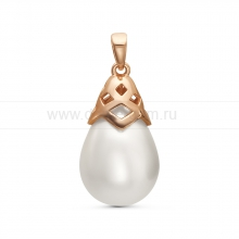 "Кулон из серебра с белой жемчужиной ""Майорика"" 12,5-15,5 мм. Артикул 11289"