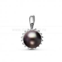 Кулон из серебра с черной жемчужиной 9,5-10 мм. Артикул 11293