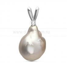 Кулон из серебра с серебристой барочной жемчужиной 13-16 мм. Артикул 11294