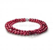 Ожерелье в 3 ряда из красного барочного речного жемчуга 10-11 мм. Артикул 11295