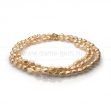 Ожерелье в 3 ряда из золотистого барочного жемчуга 10-11 мм. Артикул 11300
