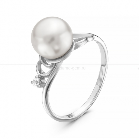 Кольцо из серебра с белой речной жемчужиной 8,5 мм. Артикул 11310
