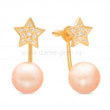 """Двойные пусеты """"Dior"""" с розовым речным жемчугом. Артикул 11312"""