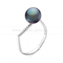 Кольцо из серебра с черной жемчужиной 9,5-10 мм. Артикул 11321