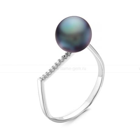 Кольцо из серебра с черной речной жемчужиной. Артикул 11321