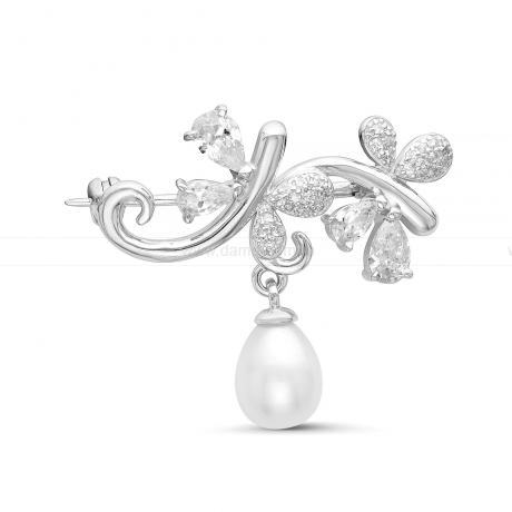 Брошь из серебра с белой жемчужиной. Артикул 11322