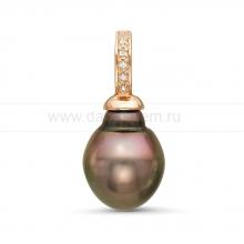Кулон из серебра с черной Таитянской жемчужиной 11,6-11,9 мм. Артикул 11329