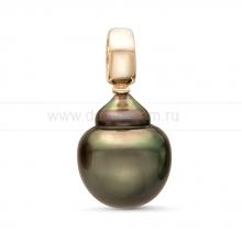 Кулон из серебра с черной Таитянской жемчужиной 12-12,5 мм. Артикул 11330