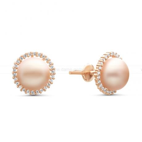 Серьги-пусеты из серебра с розовыми жемчужинами 8,5-9 мм. Артикул 11344