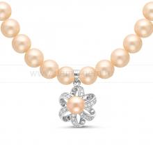 Ожерелье с кулоном из розового круглого речного жемчуга 9-10 мм. Артикул 11350