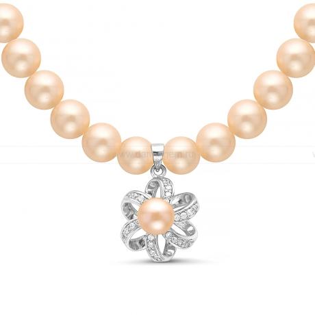 Ожерелье с кулоном из розового круглого речного жемчуга 8,5-9,5 мм. Артикул 11350