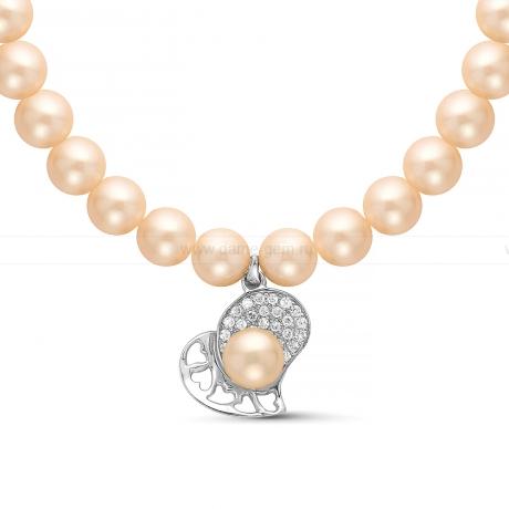 Ожерелье с кулоном из розового круглого речного жемчуга 8,5-9,5 мм. Артикул 11351