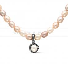 "Ожерелье ""микс"" с кулоном из розового рисообразного жемчуга 7,5-8 мм. Артикул 11352"