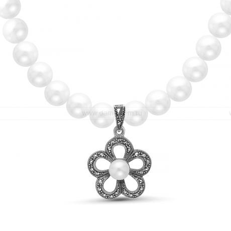 Ожерелье c кулоном из белого круглого речного жемчуга 8,5-9,5 мм. Артикул 11353