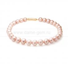 Ожерелье из 30 жемчужин из розового речного жемчуга 12-14 мм. Артикул 11358