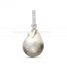 Кулон из серебра с серой барочной жемчужиной 13-16 мм. Артикул 11360