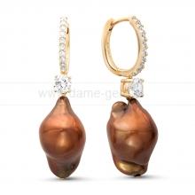 Серьги из серебра с шоколадными жемчужинами 13-16 мм. Артикул 11362