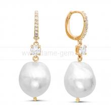 Серьги из серебра с белыми жемчужинами 13-16 мм. Артикул 11364