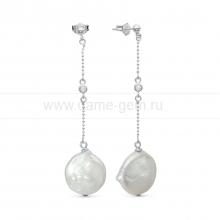"Серьги из серебра с белыми жемчужинами ""барокко"" 15-16 мм. Артикул 11366"