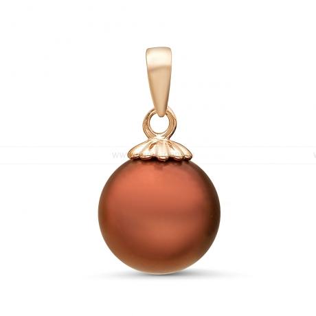 Кулон из серебра с шоколадной жемчужиной 10-10,5 мм. Артикул 11373