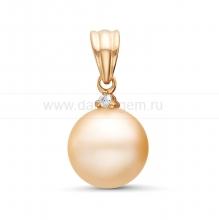 Кулон из серебра с розовой жемчужиной 9-9,5 мм. Артикул 11374
