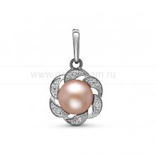 Кулон из серебра с розовой жемчужиной 7,5-8,5 мм. Артикул 11379