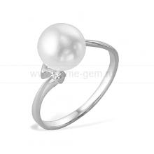 Кольцо из серебра с белой речной жемчужиной. Артикул 11387