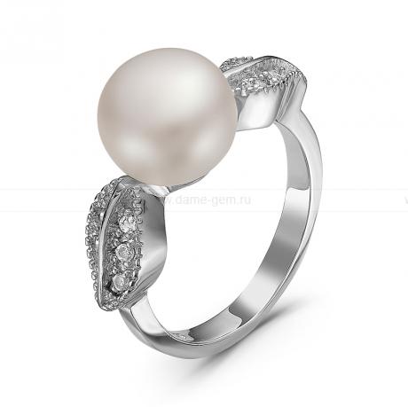 Кольцо из серебра с белой речной жемчужиной. Артикул 11388