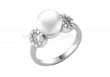 Кольцо из серебра с белой речной жемчужиной 8-8,5 мм. Артикул 11389