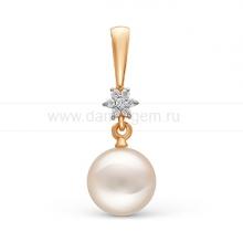 Кулон из золота с белой жемчужиной. Артикул 11391