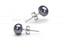 Пусеты из серебра с черными жемчужинами 6,5-7 мм. Артикул 11400