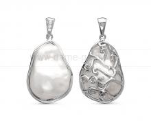 Кулон из серебра 925 пробы с белой барочной жемчужиной 13-16 мм. Артикул 11406