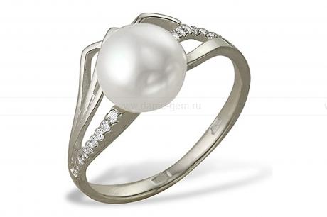 Кольцо из серебра 925 пробы с белой речной жемчужиной 8-8,5 мм. Артикул 11421