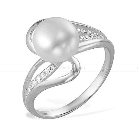 Кольцо из серебра 925 пробы с белой речной жемчужиной 7,5-8,5 мм. Артикул 11423
