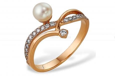 Кольцо из серебра 925 пробы с белой речной жемчужиной 7-7,5 мм. Артикул 11427