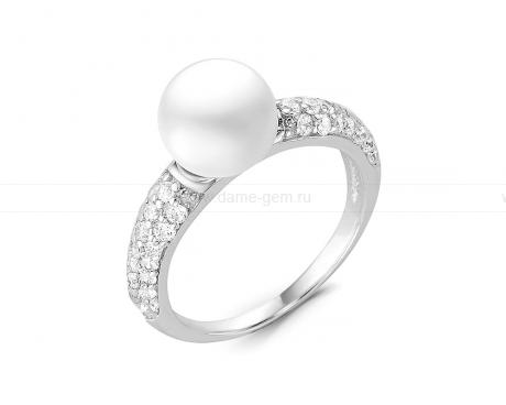Кольцо из серебра 925 пробы с белой речной жемчужиной 7 мм. Артикул 11428