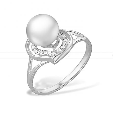 Кольцо из серебра с белой жемчужиной 7-7,5 мм. Артикул 11429
