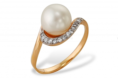 Кольцо из серебра 925 пробы с белой речной жемчужиной 8-8,5 мм. Артикул 11432