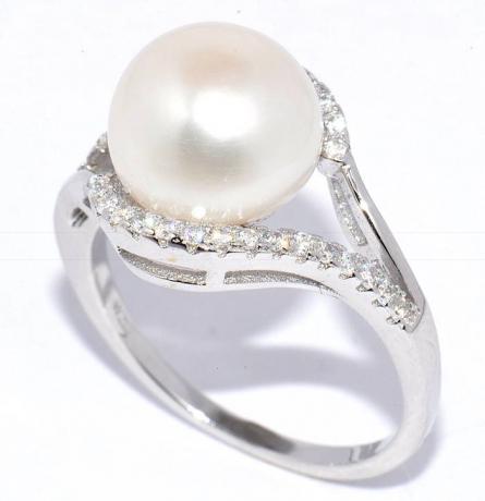 Кольцо из серебра 925 пробы с розовой жемчужиной 7,5-8 мм. Артикул 11435