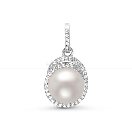 Кулон из серебра с белой жемчужиной 9,5-10 мм. Артикул 11436