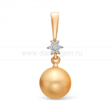 Кулон из золота с золотистой жемчужиной Акойя. Артикул 11437