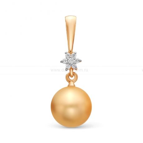 Кулон из желтого золота с золотистой жемчужиной Акойя 8-8,5 мм. Артикул 11437
