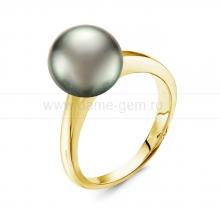 Кольцо из золота с черной Таитянской жемчужиной 9-9,5 мм. Артикул 11438