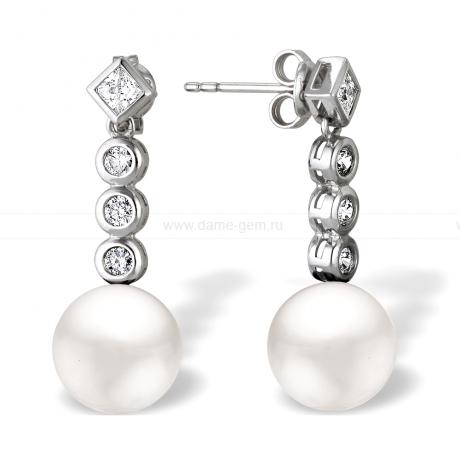 Серьги из серебра с белыми жемчужинами. Артикул 11444