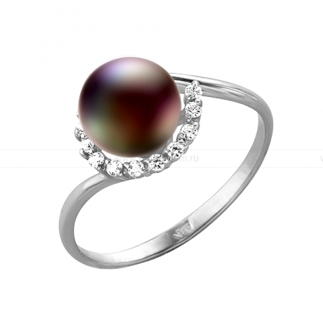 Кольцо из серебра с черной речной жемчужиной. Артикул 11445