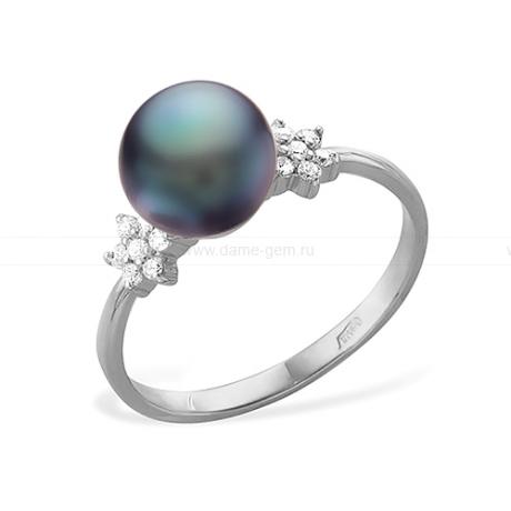 Кольцо из серебра с черной речной жемчужиной. Артикул 11446