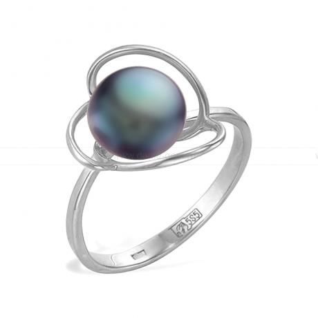Кольцо с черной речной жемчужиной 8,5-9 мм. Артикул 11448